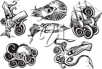 Royalty Free Clipart Image of a Group of Sea Animals