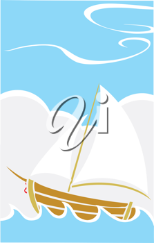 Royalty Free Clipart Image of a Sailboat on the Sea