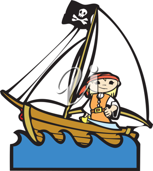 Royalty Free Clipart Image of a Pirate on a Ship