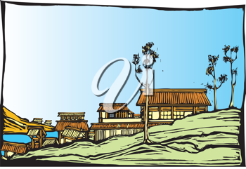 Royalty Free Clipart Image of a Japanese Village