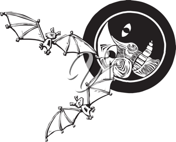 Royalty Free Clipart Image of Bats Flying