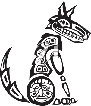 Royalty Free Clipart Image of a Mythical Coyote