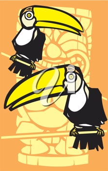 Royalty Free Clipart Image of Toucan Birds