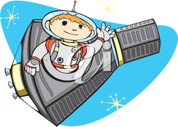 Royalty Free Clipart Image of an Astronaut in a Missile