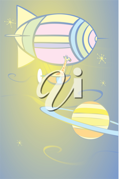 Royalty Free Clipart Image of a Giraffe in a Blimp in Space