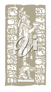 Royalty Free Clipart Image of a Mayan Priest