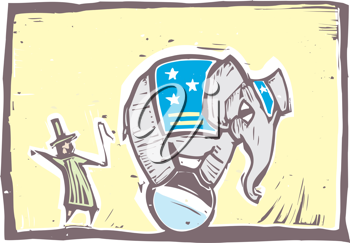 Royalty Free Clipart Image of a Trainer With an Elephant