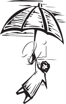 Royalty Free Clipart Image of a Person Holding an Umbrella