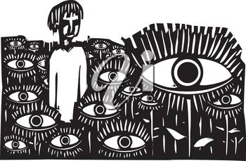 Woodcut style expressionist image of a boy standing in a field of watching eyes.