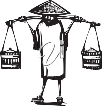 Royalty Free Clipart Image of a Chinese Peasant Farmer With Buckets on a Yoke