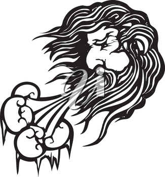 Royalty Free Clipart Image of a Man Blowing