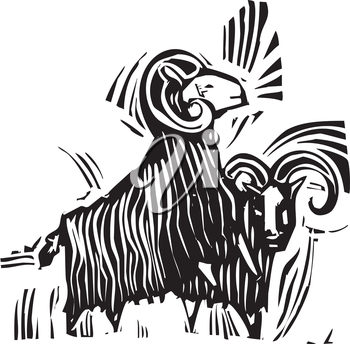 Woodcut style image of two ram goats.