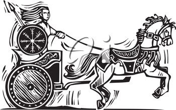 Woodcut style image of the Celtic heroine Brigid riding a chariot.