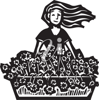 Woodcut style image of a girl selling flowers