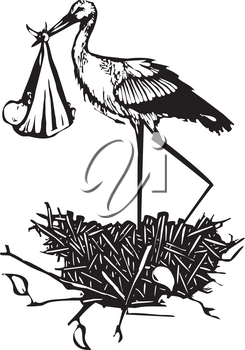 Woodcut style expressionist image of a very tall stork delivering a baby in a nest