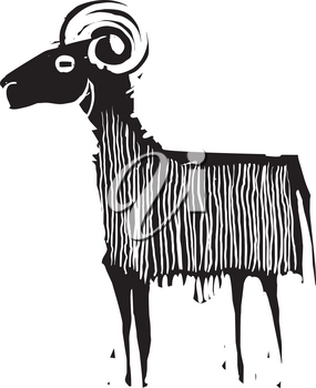 Woodcut style expressionistic image of ram or goat