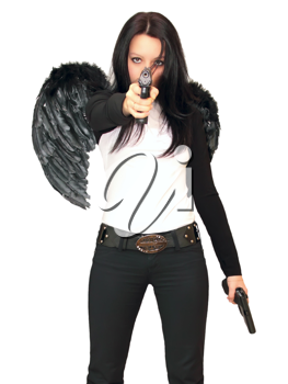 Royalty Free Photo of a Woman Wearing Angel Wings Holding Guns