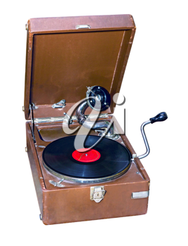 Royalty Free Photo of an Old Portable Gramophone