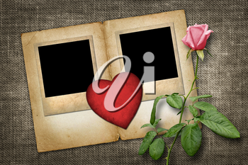 Two old-style photo  with red paper heart with pink rose  in vintage style