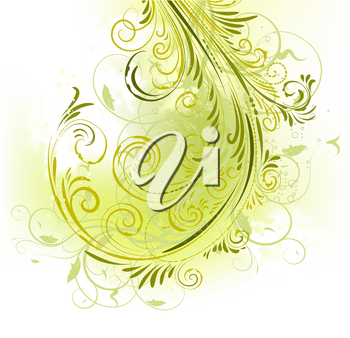 Beautiful floral ornate green design (vector format)