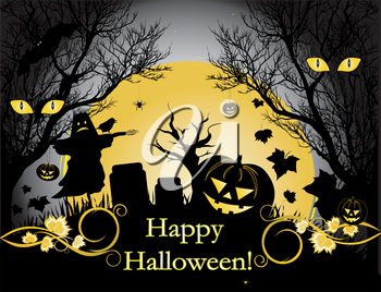 Halloween illustration background with moon, trees and pumpkin