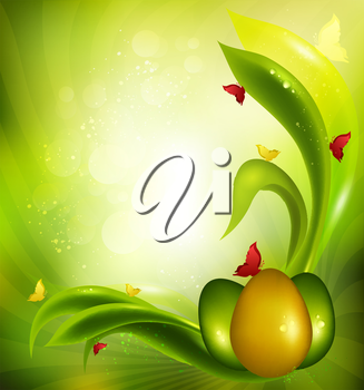 Easter Background With Eggs, Grass, Sun And Butterflies