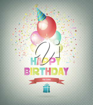 Happy Birthday Background With Balls, Gift And Title Inscription