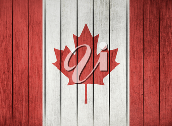 Wooden Grunge Flag Of Canada