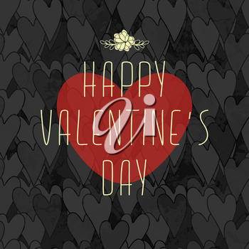 Grunge Dirty Valentine's Card With Seamless Pattern With Hearts