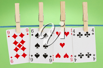 Royalty Free Photo of Cards on a Clothesline