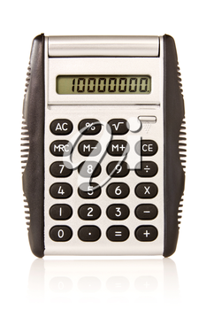 Electronic  calculator with reflection  on white background