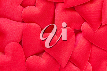 Red hearts stickers background. Valentine's day decorations.