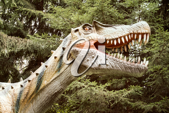 Close-up head of dinosaur with open mouth