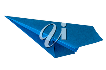 Blue paper aircraft. Paper plane isolated on a white background.