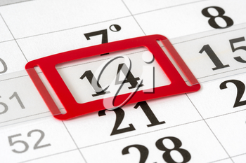 Calendar with red mark on 14th. Calendar for February with a dedicated February 14. Valentine's day.Image also can be used for December 14, 2020 - meeting of the electors and vote for President.