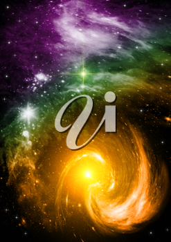 Royalty Free Clipart Image of a Background of Stars and the Galaxy