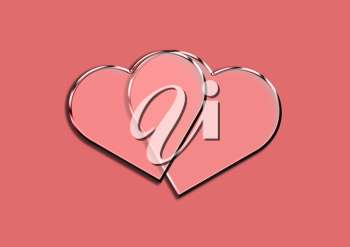 Royalty Free Clipart Image of a Two Hearts Design