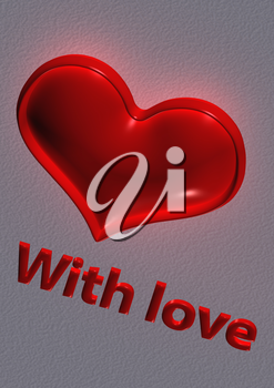 Red heart of St. Valentine's Day and inscription With love. 3D render.