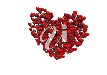 Red heart shape made of small hearts 3D Render