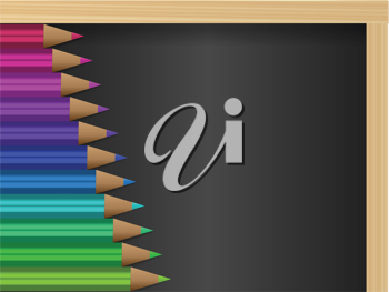 Royalty Free Clipart Image of Pencil Crayons on a Blackboard