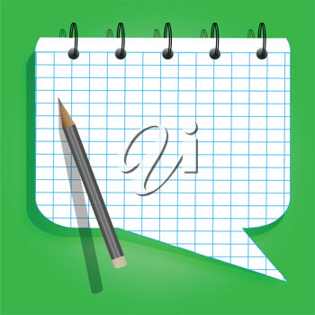 Royalty Free Clipart Image of a Speech Bubble Notepad