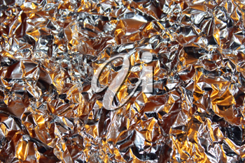 Crushed foil with bronze and silver color