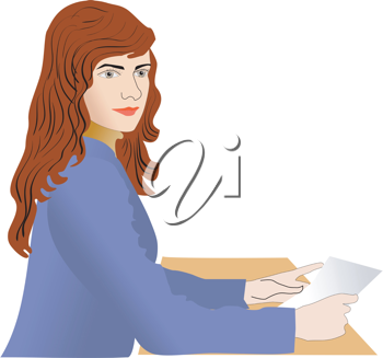 Royalty Free Clipart Image of a Woman Sitting at a Desk