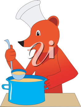 Royalty Free Clipart Image of a Bear Cooking Soup