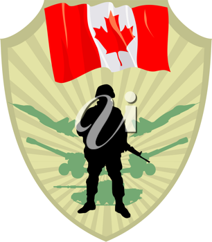 Royalty Free Clipart Image of a Crest with a Canadian Flag and a Soldier