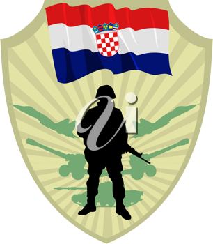 Royalty Free Clipart Image of a  Crest of a Flag of Croatia and a Soldier