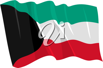 Royalty Free Clipart Image of the Kuwait Flag