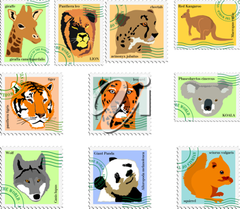 Royalty Free Clipart Image of a Set of Animal Stamps