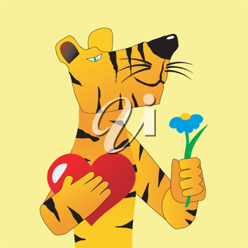 Royalty Free Clipart Image of a Tiger Holding a Valentine's Gift