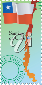 Vector stamp with an image of map of Chile